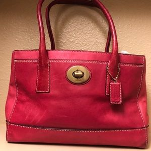 COACH Red Leather Madeline Tote Bag B 0893-11553